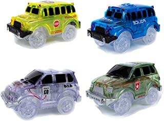 4 Pack Replacement Flashing Lights Track Cars, 5 LRD Lights Up Toy Cars, Compatible with Most Racing Tracks Accessories