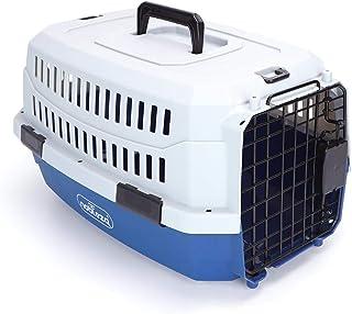 Nobleza - Transportín para Gatos Perros, Transportín de plástico L 68x48x42CM, transportador de Mascotas para Perros/Gatos/Avión Azul & Gris