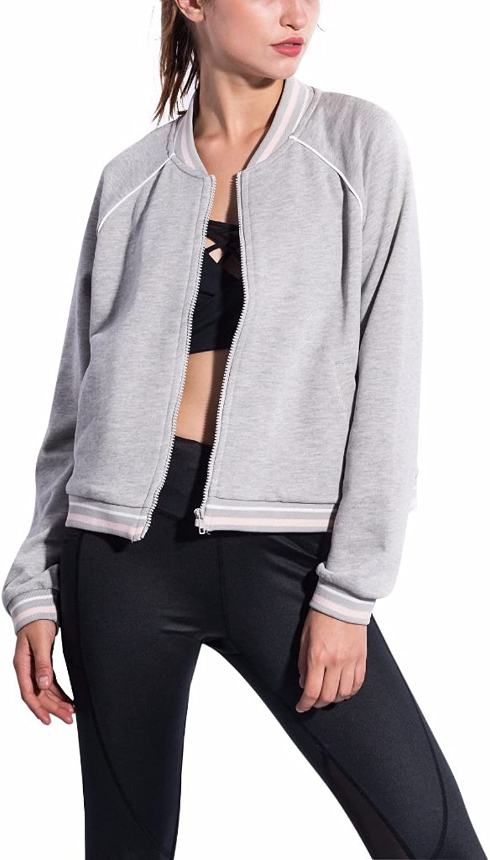Puli Women's Full Zip Varsity Jacket Sweatshirt Sportwear Casual Bomber Jacket