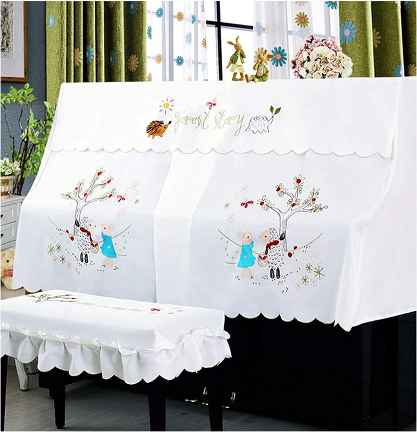 Cartoon Embroidery Piano greenical Single seat Stool dust Cover Desktop Mosquito Cover