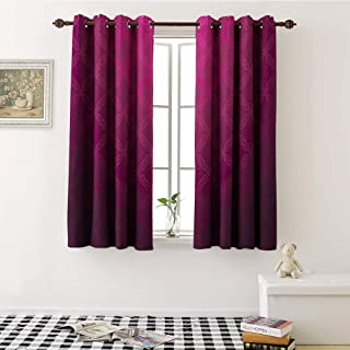 Magenta Decor, Blackout Window Curtain, Victorian Damask Motif with Diamond Shaped Square Lines Middle Age Inspired Art, Customized Curtains W72 x L72 Inch Rosewood