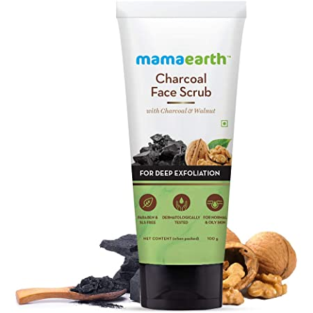 Mamaearth Charcoal Face Scrub For Oily Skin & Normal skin, with Charcoal & Walnut for Deep Exfoliation – 100g