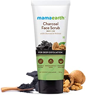 Mamaearth Charcoal Face Scrub for Oily and Normal skin, with Charcoal and Walnut for Deep Exfoliation - 100g