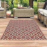 carpet city Outdoor-Teppich Läufer Wetterfest Balkon Terrasse Modern Geometrisches Muster in Rot; Größe: 60x230 cm