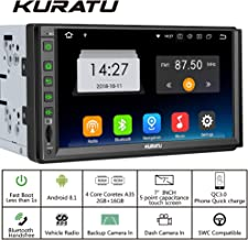 KURATU Android 8.1 Car Stereo Radio Double Din,2GB+16GB, Mirror Link,Quick Charge, Built-in Bluetooth WiFi GPS Navigation, Support Fast Boot, Backup Camera & More