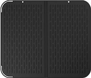 SENDR.KR Abtropfmatte aus SilikonHitzebeständig und rutschfest Abtropfgitter,Große Gummimatte zum Trocknen von Geschirr und Gläsern, 41 x 36cm Schwarz, 52  45cm