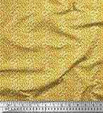 Soimoi Gold Baumwolljersey Stoff Filigran Damast gedruckt