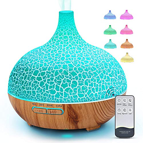 Essential Oil Diffuser Room 400ml Aroma Diffuser Aromatherapy Diffusers 4 Timer Cool Mist Humidifiers (Waterless Auto Off, 7 Color Changing LED Lights) (Diffuser)