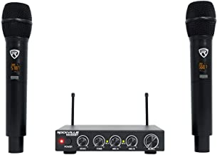 Rockville RKI65BT Dual UHF Wireless Microphones+Bluetooth Karaoke Mic Interface, Black