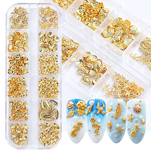 3D Nail Art Metal Decals 12 Shapes Holographic Nail Glitters Sequins Gold Nail Art Supplies Flakes Nail Art Decorations Kit Shell Seahorse Leaf Starfish Nail Charms Sparkles for Acrylic Nails Designs