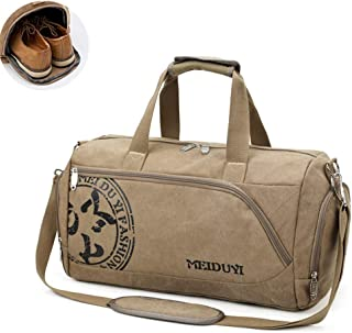 Travel Duffle Bag, Canvas Luggage Bag,Weekend Bag with Shoes Compartment (Color : Khaki)