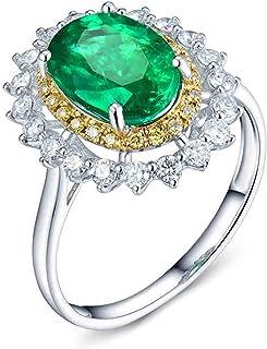 ButiRest - Anello in oro bianco 750 18 carati con 4 denti taglio ovale 1,93 ct verde smeraldo VS e diamante 0,81 ct