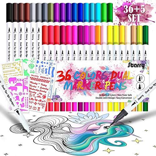 DYFFLE Filzstifte für Bullet Journal Zubehör - [36Farben+5Schablonen] Dual Brush Pen Set, Pinselstifte, Malstifte, Kombimaler, Watercolor Effekte Aquarellpinsel Acrylstifte für Manga, Kalligraphie