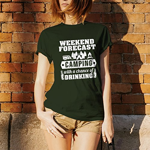 Weekend Forecast Camping with a Chance of Drinking - Hiking, Outdoors, Nature, Fishing, Drinking - Funny Adult Cotton T-Shirt - X-Large - Forest Green