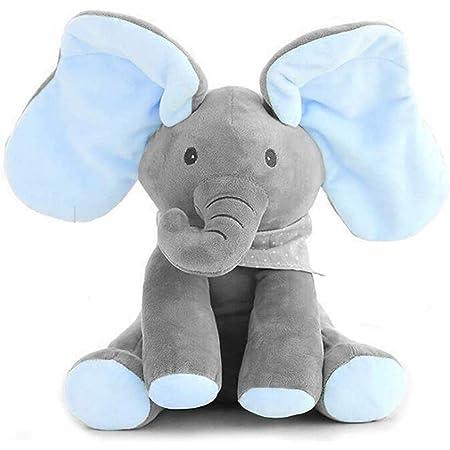 Dreamsbox Kids Morbido Peluche Elefante Giocattolo, Baby Animato l'elefante Peluche Peluche Giocattolo Peek-a-Boo Elefante, Gioco nascondiglio Animato Bambino Peluche Elefante Doll