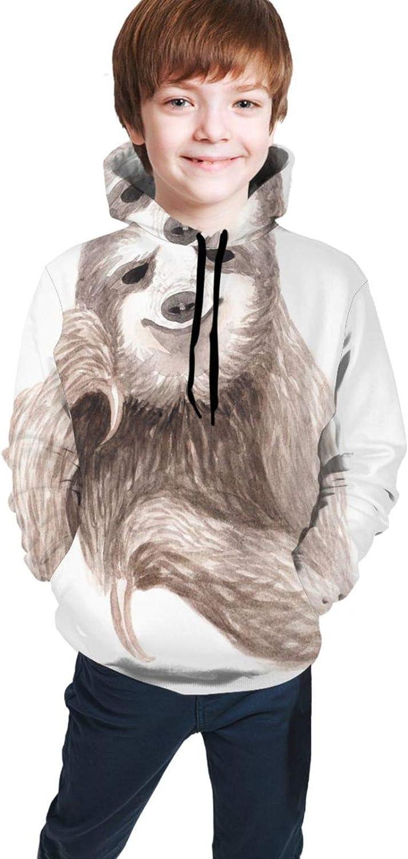 Funny Cute Sloth Cartoon Animal Hoodies for Kids Boys Girls Hooded Sweatshirt Pullover Long Sleeve Sweaters