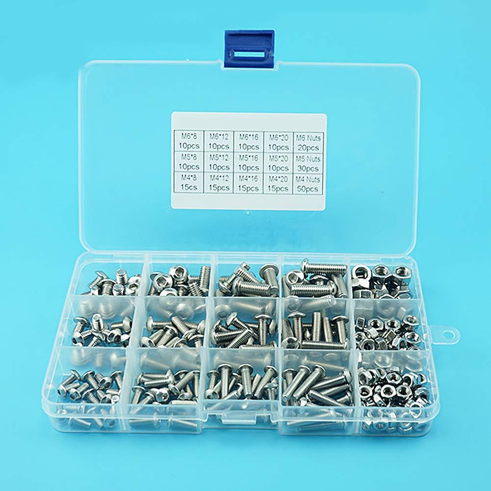 uirend 240Pcs M4 M5 M6 Allen Bolts Nut Sets Stainless Steel Round Head Hex Socket Machine Screws Lock Nuts Assortment Kit