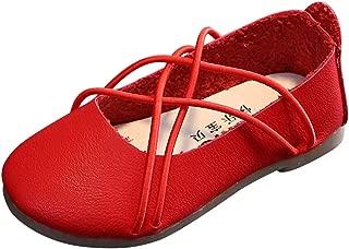 YWLINK Zapatos De Princesa NiñAs Corbata Cruzada SóLida Zapatos De Baile Simples Zapatos De TacóN Bajo Vestido De Fiesta Zapatos De Cuero De ImitacióN Zapatillas De Deporte Regalo