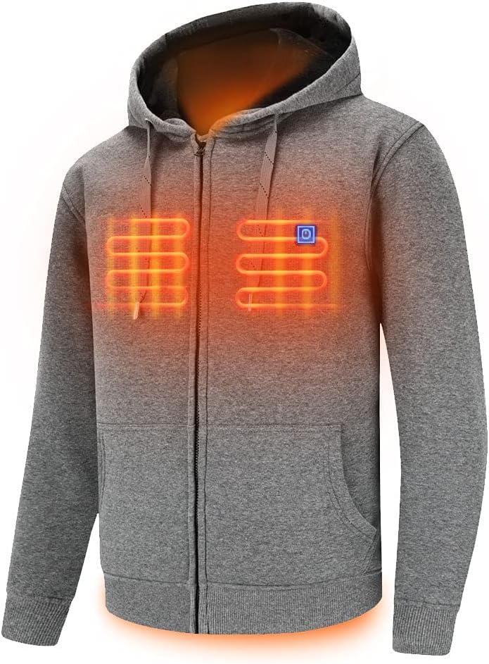 Dr.Qiiwi Men's & Women's Outdoor Heated Hoodie, Soft Lightweight Full-Zip Hooded Jacket...