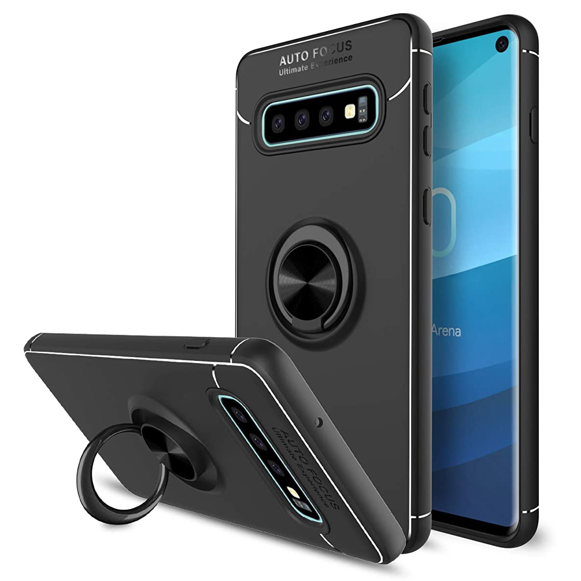 Galaxy S10 Case, Elegant Choise 360 Degree Rotating Ring Holder Stand Hybrid Slim Soft TPU Scratch Resistant Protective Case Fit Magnetic Car Mount Cover for Samsung Galaxy S10 6.1 inch(Black)