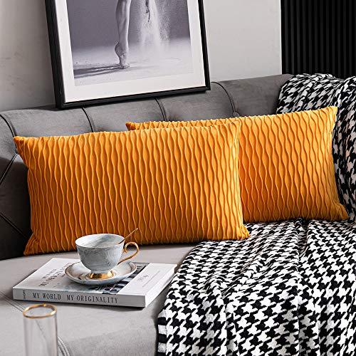 DEZENE Golden Yellow Couch Pillow Covers: 2 Pack 12x20 Inch(30cmx50cm) Original Striped Velvet Rectangular Pillow Cases for Bedroom Home Decor