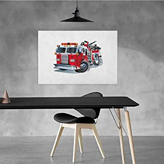 Xlcsomf Colorful Oil Painting Truck Business Gift Fire Brigade Vehicle Emergency Aid for Public Firefighter Transportation Themed Lorry W47 x L31 Grey Red