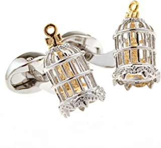 Birdcage Bird in Cage Moves Pair Cufflinks in a Presentation Gift Box & Polishing Cloth