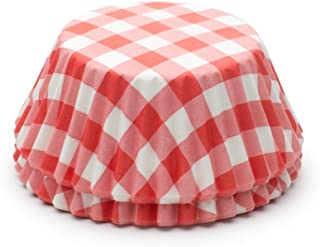Fox Run 6919 Gingham Disposable Bake Cups, 3.25 x 3.25 x 1.25 inches, Red