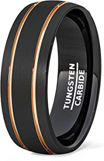 8mm Black Tungsten Ring Brushed Matte Double Groove Rose Gold Inlay Dome Comfort Fit