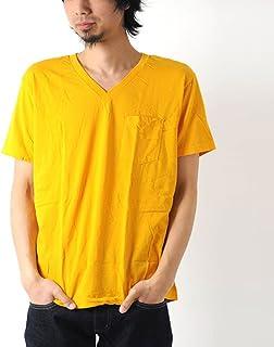 [ヘインズ] Hanes Vネック ポケットTシャツ Lサイズ 750-マスタード