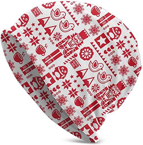 cvbnch Red Classic Christmas Nussknacker Vogel Slouchy Beanie Hut Strickmütze Winter Ski Skull Cap für Männer Frauen