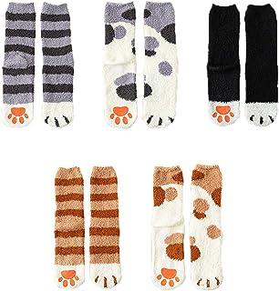 BUTTZO 5 Pairs Women's Fun Socks Cute Cat Animals Funny Funky Novelty Cotton Gift