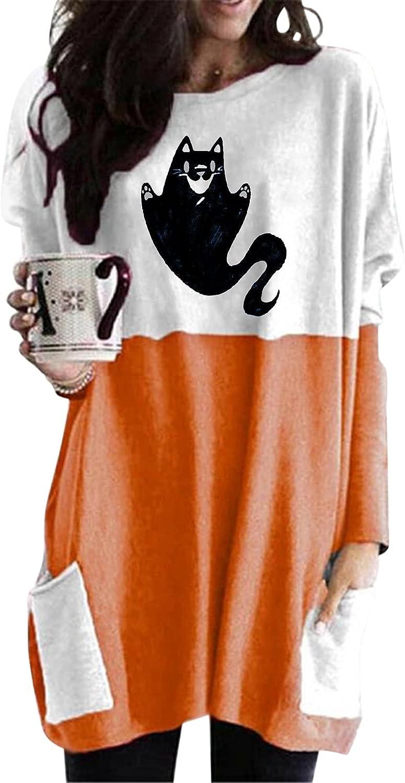 felwors Womens Halloween Sweatshirt, Womens Loose Long Sleeve Tops Oversized Pumpkin Cat Print T Shirts with Pockets