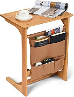 COSTWAY 100% Bamboo Side Table, L-Shaped TV Tray Side Table, Snack End Table Laptop Desk with Storage Bag, U-Shaped Bedroom Reading Writing Desk for Limited Space for Home, Office, Natural