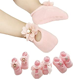 Newborn Baby Girls 3 Pairs Baby's Socks Set Lace Flower Anti Slip Floor Socks Toddler Walker Sock Photography Pearl Bow knots Socks Best Baby Birthday Gift Pink