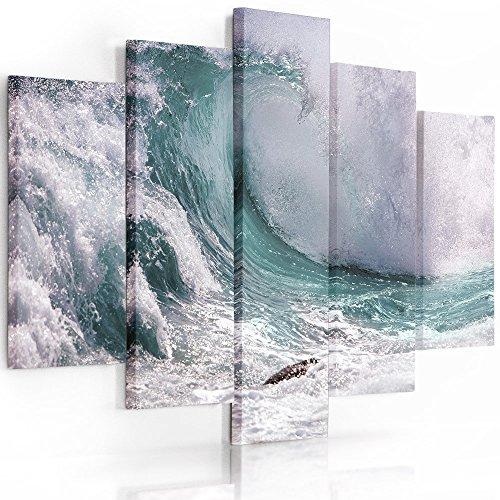 Feeby Frames, Quadro multipannello di 5 Pannelli, Quadro su Tela, Stampa Artistica, Canvas (Onda, Blu, Verde) 100x150 cm, Tipo A