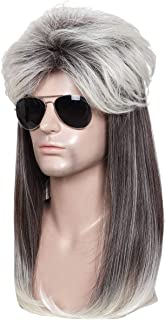 ColorGround Long Straight Brown and White 80's Mullet Rocker Style Wig for Men
