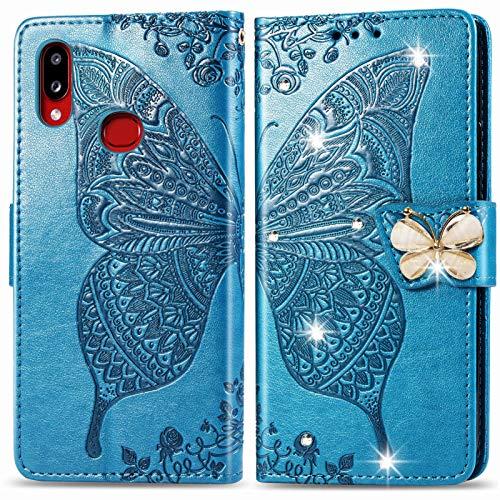 Oihxse Flip Housse Étui Compatible pour Samsung Galaxy A71 5G 2020 Coque Cuir PU Portefeuille Pochette avec Carte Fentes Fonction Stand Motif Papillon Brillant Glitter Diamant à Rabat Cover,Bleu
