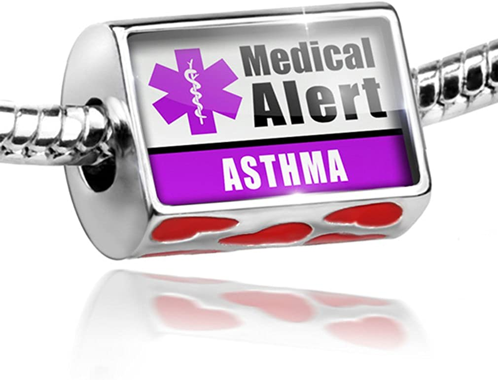 NEONBLOND Bead with Hearts Medical Alert Purple Asthma - Charm Fit All European Bracelets