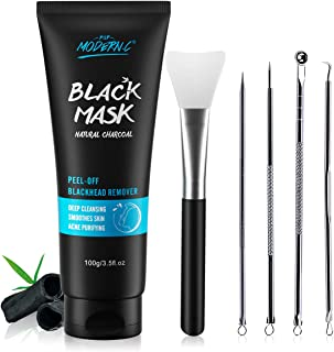 Black Mask-Blackhead Removal Mask Peel Off Facial Black Mask 3.5oz(100G) Pore Control, Skin Cleansing, Purifying Bamboo Charcoal With Blackhead Remover Extractor Tools Kit & Mask Brush XMAS GIFT