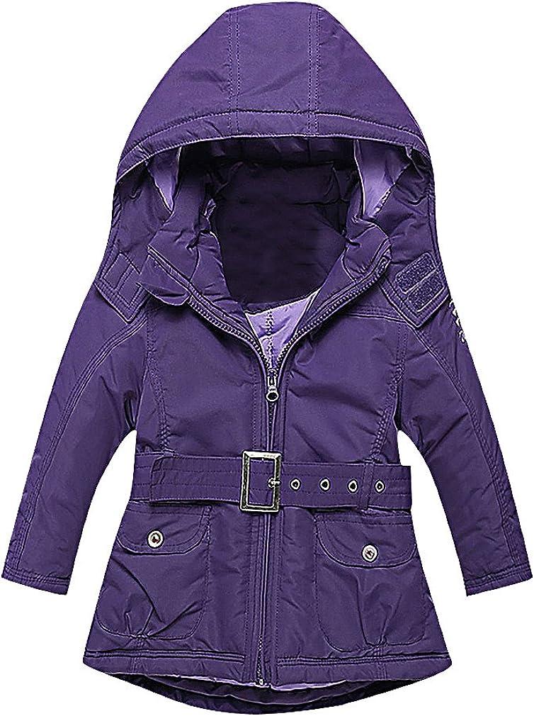 Sweety Girls' Purple Zip Up Self Belted Detachable Hood Cotton Filled Jacket