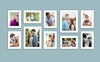 Art Street Stature Set of 10 Individual White Fiber Wood Wall Photo Frames with Free Hanging Accessories (Mix Size)(8 Unit...