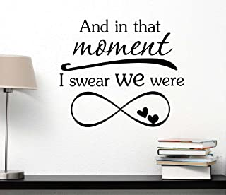 Ideogram Designs and in That Moment I Swear we were Infinite Movie Inspired. Vinyl Wall Decor Quotes Sayings Inspirational Lettering Movie Sticker Stencil Wall Art Decor