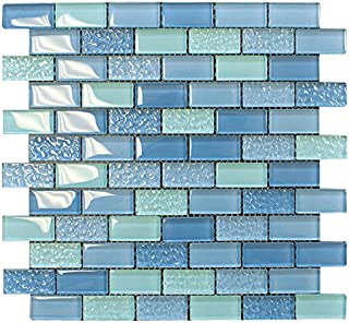 Pool Wave Blue Crystal Subway Glass Mosaic Tile for Bathroom and Kitchen Walls Kitchen Backsplashes by Vogue Tile