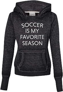 Trenz Shirt Company Soccer is My Favorite Season Ladies Zen Pullover Fleece Hoodie