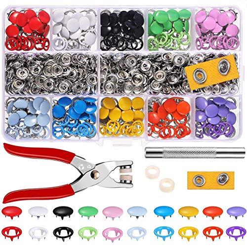Alritz 200 sets de botones de presión con alicates de fijación, juego de botones de presión, anillo de metal, botones de presión para ropa infantil de bebé, 9,5 mm, 10 colores