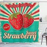 ABAKUHAUS Obst Duschvorhang, Retro Poster Erdbeeren, mit 12