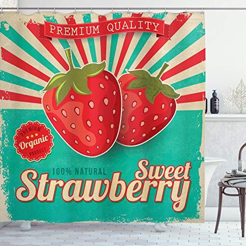 ABAKUHAUS Obst Duschvorhang, Retro Poster Erdbeeren, Wasser Blickdicht inkl.12 Ringe Langhaltig Bakterie & Schimmel Resistent, 175 x 180 cm, Türkis Rot