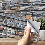 Hiser Adhesivos Decorativos para Azulejos Pegatinas para Baldosas del Baño/Cocina Estilo de Azulejos de Pared 3D Resistente al Agua Pegatina de Pared (Ladrillo de Piedra rústica,27 Piezas)