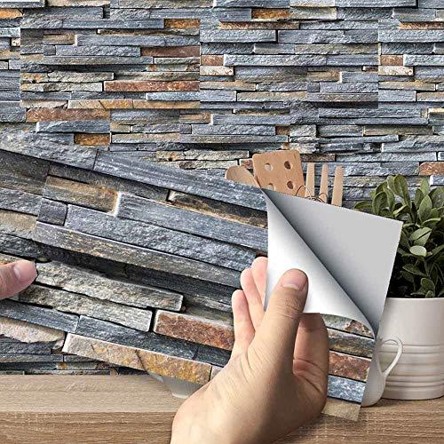 Hiser Adhesivos Decorativos para Azulejos Pegatinas para Baldosas del Baño/Cocina Estilo de Azulejos de Pared 3D Resistente al Agua Pegatina de Pared (Ladrillo de Piedra rústica,54 Piezas)
